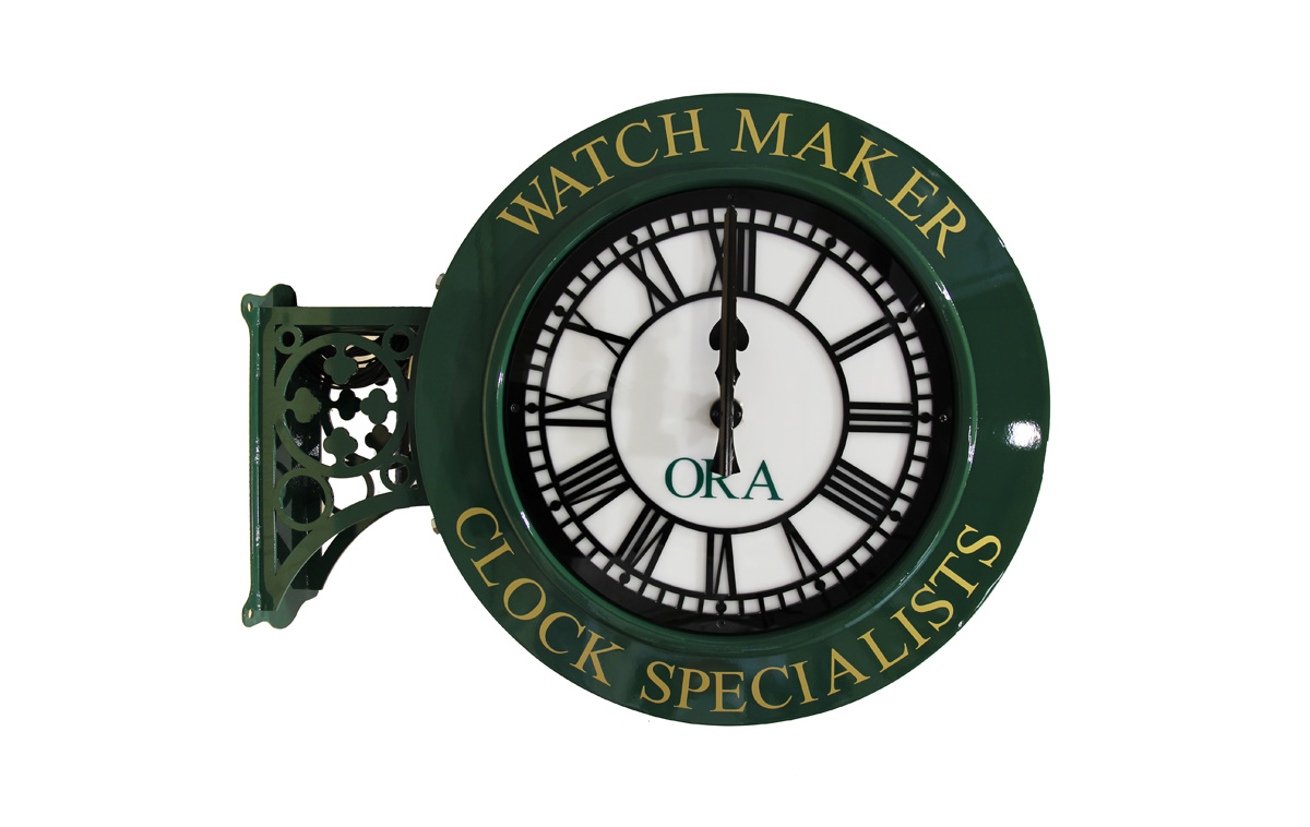 Double Sided Clocks With Outdoor Hanging Brackets